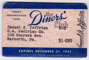 Первые карты Diners Club
