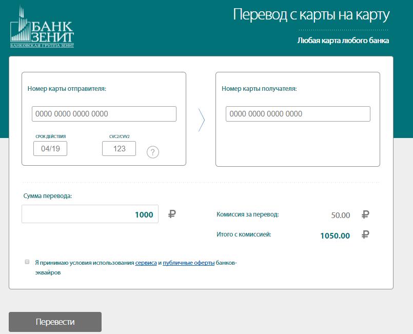 Банк Зенит: перевод с карты на карту